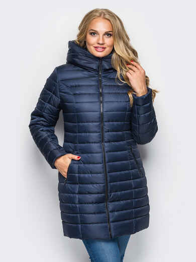 Тёмно-синяя зимняя стёганая куртка 15251, фото 1