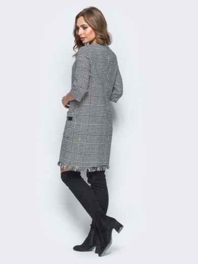 Твидовое платье с декоративными пуговицами на эко-коже - 17814, фото 3 – интернет-магазин Dressa