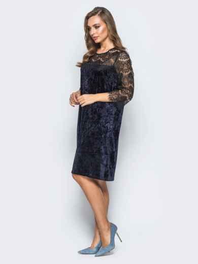 Велюровое платье тёмно-синего цвета с кокеткой из кружева - 17810, фото 2 – интернет-магазин Dressa