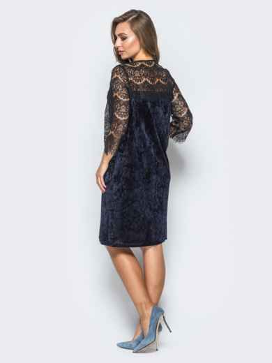 Велюровое платье тёмно-синего цвета с кокеткой из кружева - 17810, фото 3 – интернет-магазин Dressa