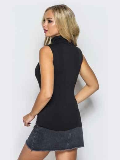 Вискозный гольф черного цвета без рукавов - 16935, фото 2 – интернет-магазин Dressa