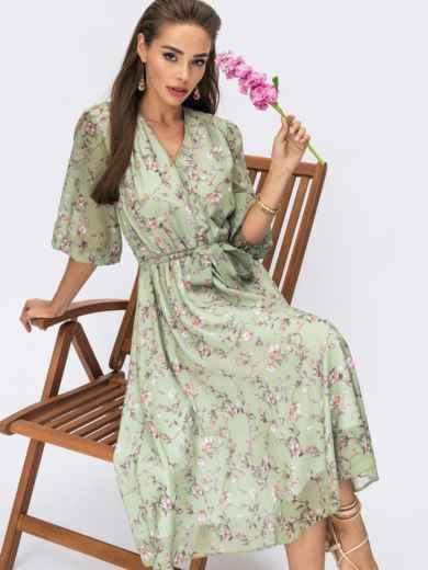 Зеленое платье из шифона в цветочный принт с фиксированным запахом 54232, фото 1