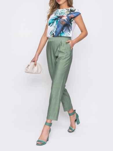 Зеленые брюки из льна с резинкой по талии 48435, фото 2