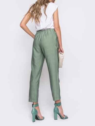 Зеленые брюки из льна с резинкой по талии 48435, фото 3