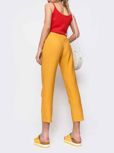 Желтые брюки из льна с резинкой по талии 48436, фото 2