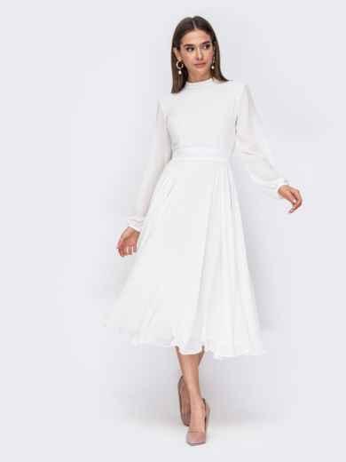 Белое платье с расклешенной юбкой и открытой спиной 53484, фото 1