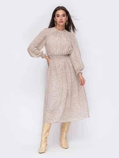 Бежевое платье с широким эластичным поясом 53480, фото 1