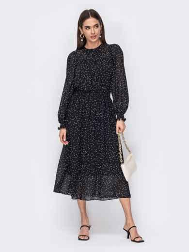 Черное платье с широким эластичным поясом 53481, фото 1