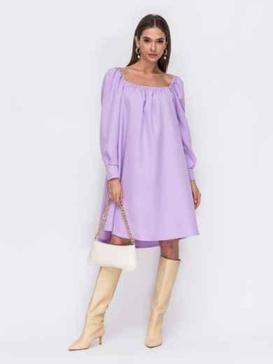 """Фиолетовое платье-трапеция с вырезом """"каре"""" 53482, фото 1"""
