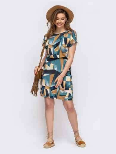 Голубое платье с кулиской в поясе принтованное 46935, фото 1