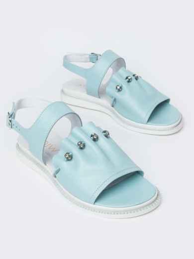 Голубые босоножки с фурнитурой - 39105, фото 2 – интернет-магазин Dressa
