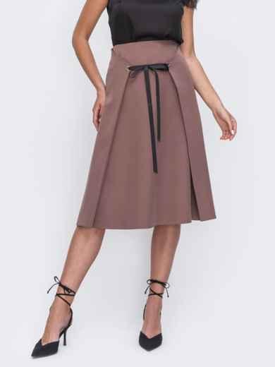 Коричневая юбка-трапеция из костюмной ткани 49398, фото 1