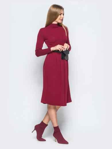 Платье из ангоры бордового цвета с юбкой с мягкими складами - 17523, фото 2 – интернет-магазин Dressa