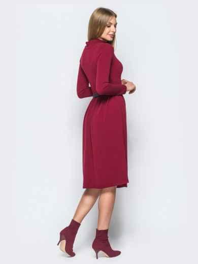 Платье из ангоры бордового цвета с юбкой с мягкими складами - 17523, фото 3 – интернет-магазин Dressa