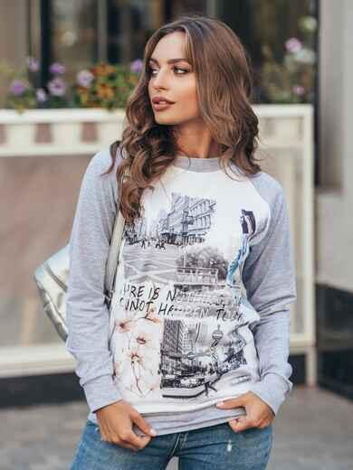 Серый свитшот с рукавом реглан и надписью на полочке - 16190, фото 1 – интернет-магазин Dressa