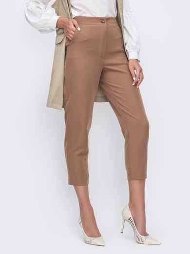 Укороченные брюки с высокой посадкой бежевые 49399, фото 1