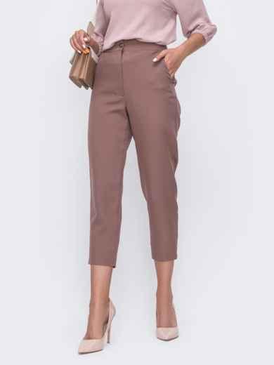 Укороченные брюки с высокой посадкой коричневые 49400, фото 1