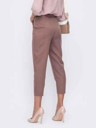 Укороченные брюки с высокой посадкой коричневые 49400, фото 2
