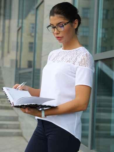 Блузка с кружевной кокеткой 10225, фото 1