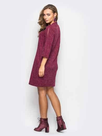 Бордовое платье из ангоры с разрезами на рукавах - 13642, фото 3 – интернет-магазин Dressa