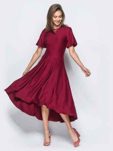 Платье бордового цвета с удлиненной спинкой и лаковым поясом в комплекте - 17835, фото 3 – интернет-магазин Dressa