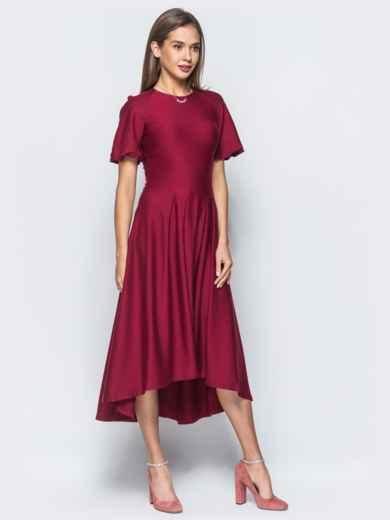 Платье бордового цвета с удлиненной спинкой и лаковым поясом в комплекте - 17835, фото 4 – интернет-магазин Dressa