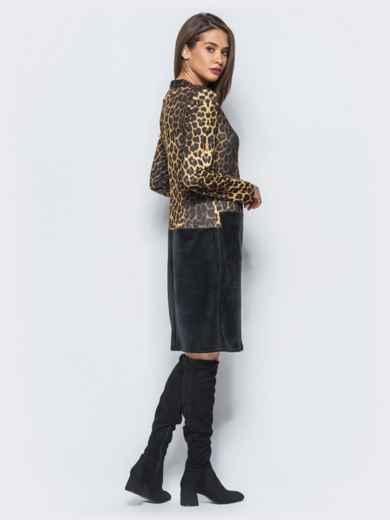 Платье с леопардовым принтом и вставкой из гипюра на полочке - 17836, фото 2 – интернет-магазин Dressa