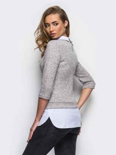 Серая кофта с имитацией блузы по низу - 10592, фото 2 – интернет-магазин Dressa