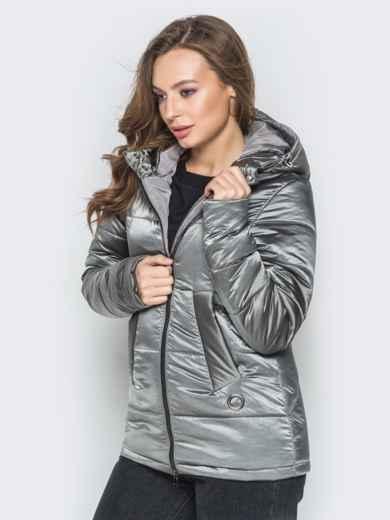 Серая куртка на молнии со вшитым капюшоном - 20269, фото 2 – интернет-магазин Dressa