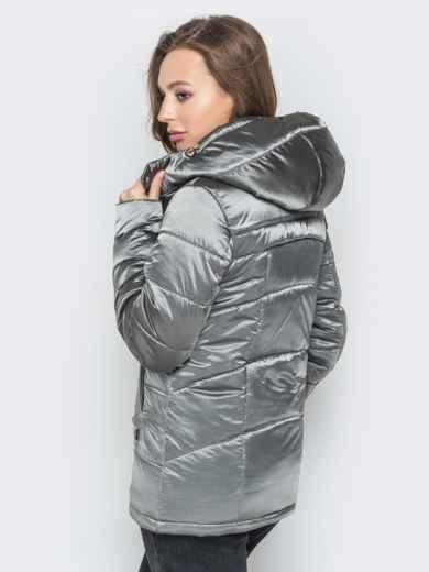 Серая куртка на молнии со вшитым капюшоном - 20269, фото 3 – интернет-магазин Dressa