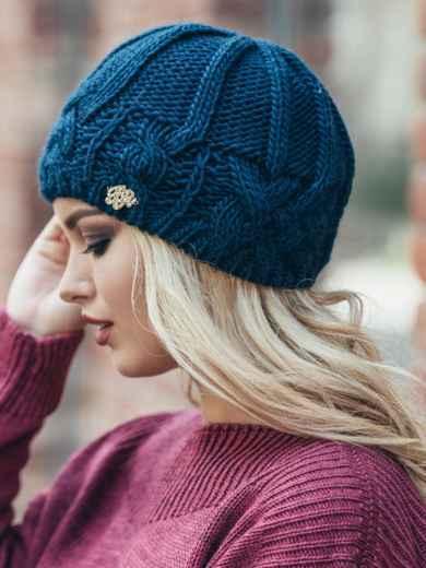 Темно-синяя шапка с узором на флисе - 15320, фото 4 – интернет-магазин Dressa