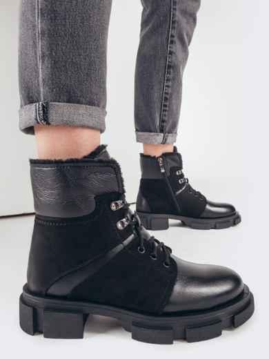 Зимние ботинки из комбинированных материалов черные 51733, фото 1