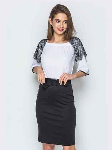 Белая блузка с открытыми плечами и кружевом на рукавах - 13219, фото 1 – интернет-магазин Dressa