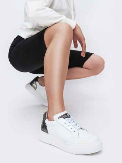 Белые кеды из натуральной кожи с контрастными вставками - 47551, фото 1 – интернет-магазин Dressa