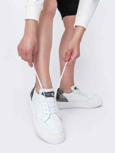Белые кеды из натуральной кожи с контрастными вставками - 47551, фото 2 – интернет-магазин Dressa