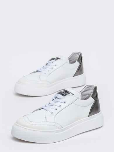 Белые кеды из натуральной кожи с контрастными вставками - 47551, фото 3 – интернет-магазин Dressa