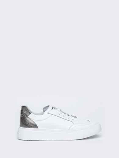 Белые кеды из натуральной кожи с контрастными вставками - 47551, фото 5 – интернет-магазин Dressa