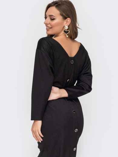 Черное платье из блестящего трикотажа с вырезом по спинке 52054, фото 1