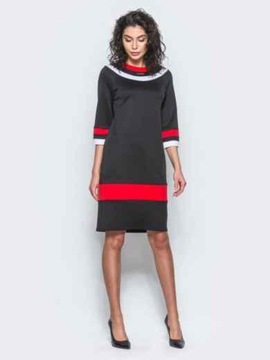 Чёрное платье с контрастными вставками и рукавом 3/4 - 12685, фото 2 – интернет-магазин Dressa