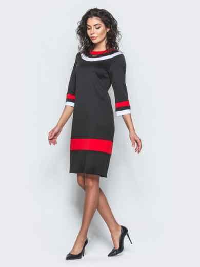 Чёрное платье с контрастными вставками и рукавом 3/4 - 12685, фото 3 – интернет-магазин Dressa