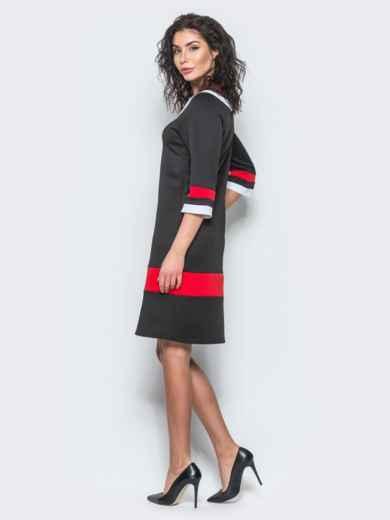 Чёрное платье с контрастными вставками и рукавом 3/4 - 12685, фото 4 – интернет-магазин Dressa