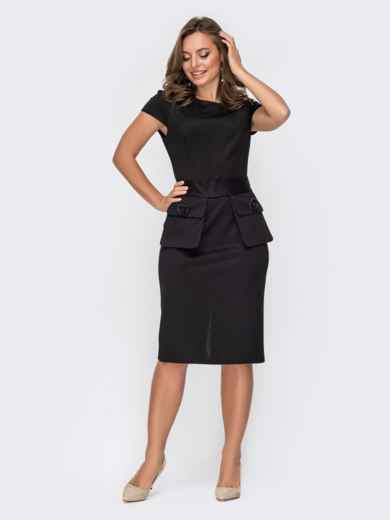 """Черное платье со съемными карманами и рукавом """"крылышко"""" 52055, фото 1"""