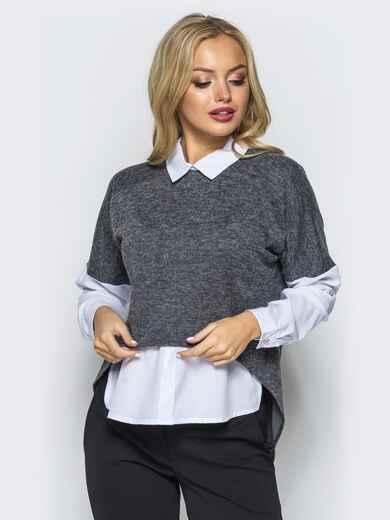"Кофта из трикотажа ""ангора"" с имитацией блузки серая - 16558, фото 1 – интернет-магазин Dressa"