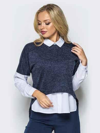 """Кофта из трикотажа """"ангора"""" с имитацией блузки тёмно-синяя - 16560, фото 1 – интернет-магазин Dressa"""