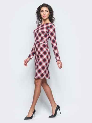 Красное приталенное платье с втачным поясом - 12687, фото 2 – интернет-магазин Dressa