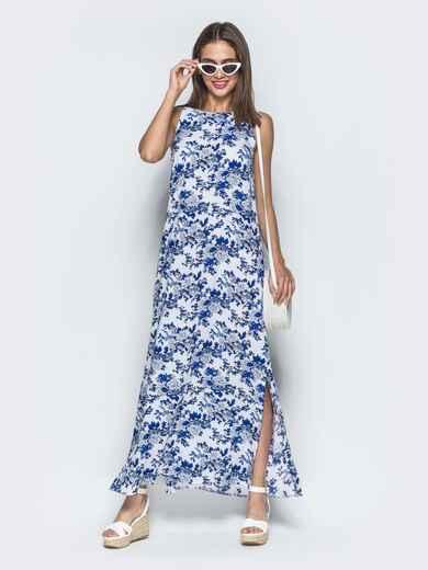 Платье из хлопка с цветочным принтом синее 39523, фото 1