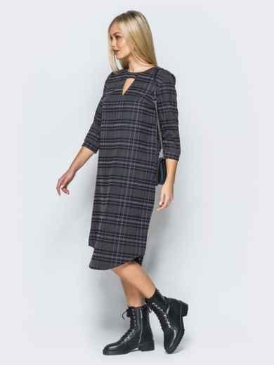 Платье из костюмной ткани с вырезом на горловине - 17591, фото 2 – интернет-магазин Dressa