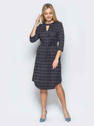 Платье из костюмной ткани с вырезом на горловине - 17591, фото 4 – интернет-магазин Dressa