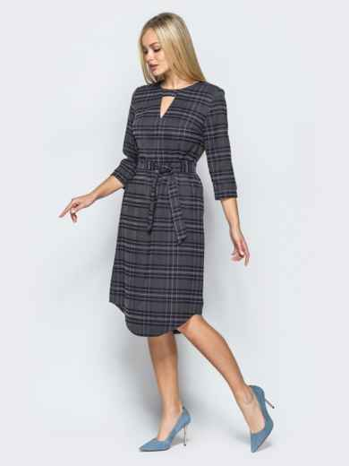 Платье из костюмной ткани с вырезом на горловине - 17591, фото 5 – интернет-магазин Dressa