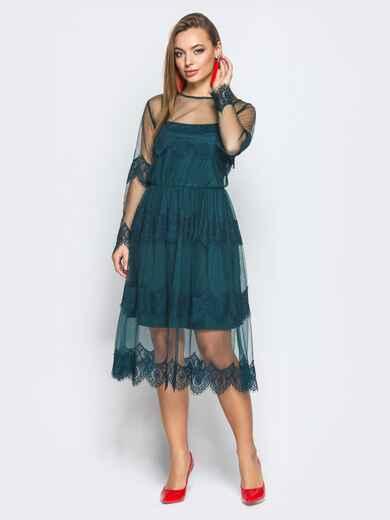 Платье-комбинация с талией на резинке и кружевой зелёное - 18245, фото 1 – интернет-магазин Dressa